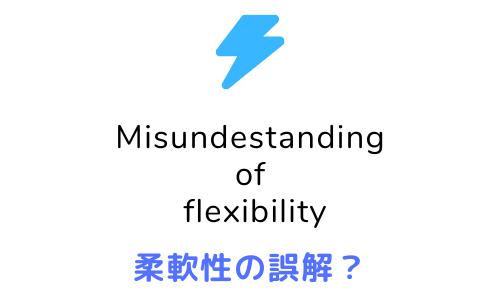 柔軟性の誤解 misunderstanding of flexibility